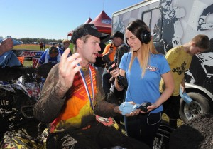 Jen Kenyon interviews GNCC ATV racer Chris Bithell at the opening round in Fla.
