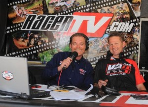 "GNCC Live hosts Rodney Tomblin (left) and Fred Andrews pose inside the ""RacerTV Race Day Studio"" at GNCC"