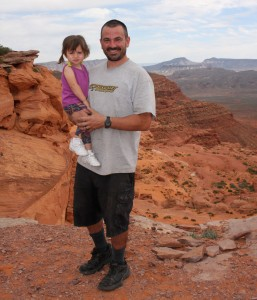 Triumph's Anthony Martin and daughter Ava taking in the sites.