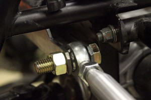 Check out the heavy duty steering rack bracket and Blue Torch Fab tie rod, which is using temporary bolts and nuts.