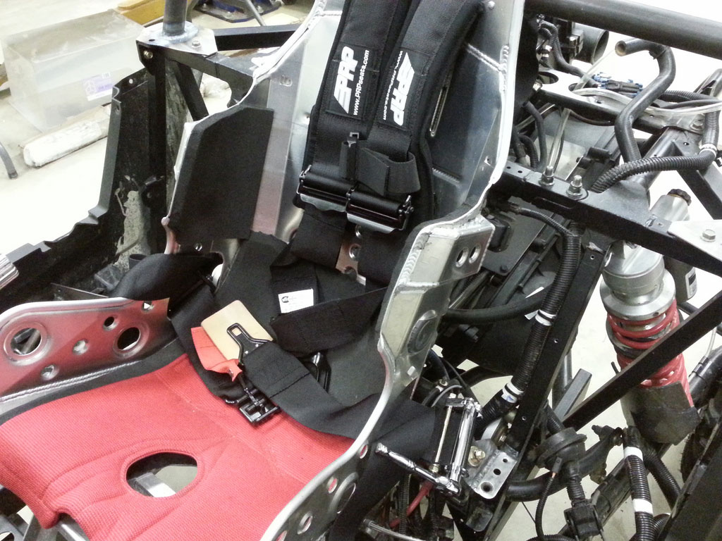 Here's a look at the modified Kirkey seat and PRP ratchet harness system.