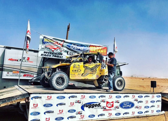 The No. 904 Desert Toyz / Can-Am Maverick Turbo side-by-side vehicle used its stock turbocharged Rotax engine and Can-Am drive train at the BWDC in Arizona.