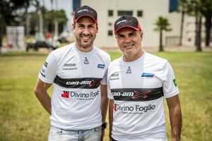 From left) Gustavo Gugelmin and, driver of record, Reinaldo Varela won the SxS category in their South Racing Can-Am Maverick X3 at the 2018 Dakar Rally in South America.