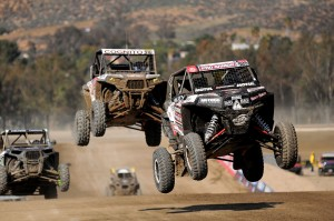 Tommy Scranton puts some air under his Mongrels on the Lake Elsinore Lucas Oil track.