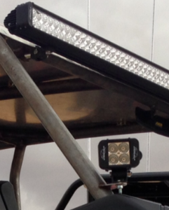 """Here is the 52"""" Laserstar Endeavour Light Bar along with one of two Endeavour Flood LEDs, which are used to light up each side of the vehicle."""
