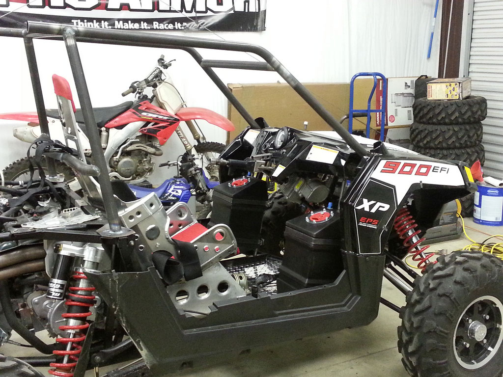 This photo shows the custom fuel cells installed.
