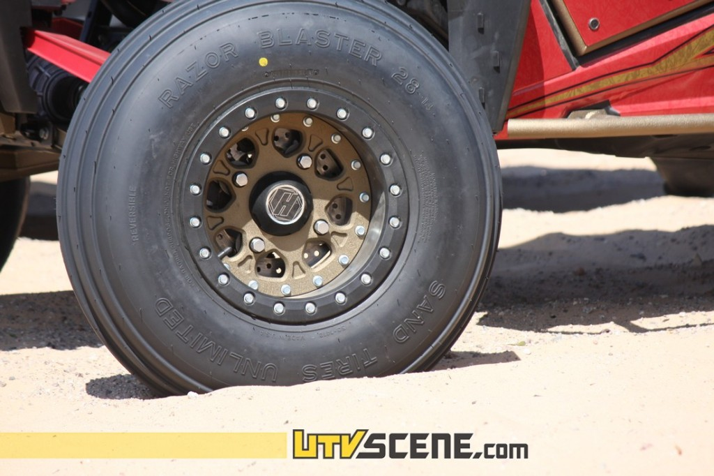 Desert Works car setting up custom colors on their Hiper wheels and Sand Tires Unlimited tires