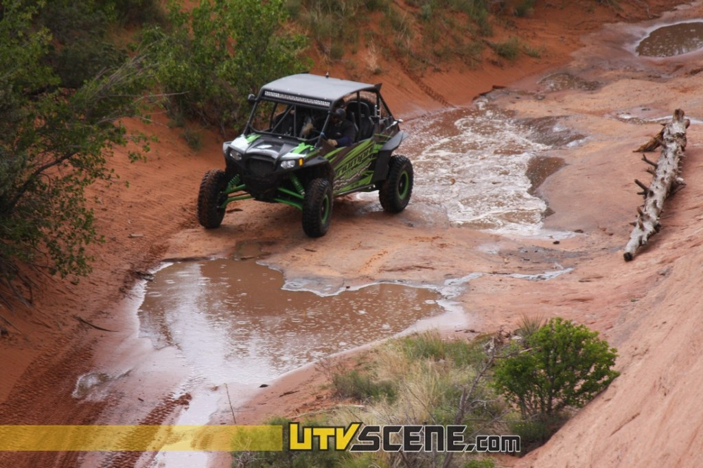 The 'Kane Creek Trail' was full of lush vegetation and trees with Kane Creek crossing the trails path as you go. The multiple water crossings added adventure to the ride and at the time a chance to cool off and even splash your buddies in their UTVs. In some sections the canyon was so narrow the creek itself was actually the trail. Some of the trails were fast, smooth & easy. Some were challenging, including some very difficult rock climbing. For the toughest trails, a well guarded UTV & expansive operator experience was a must. However the Rally offered slower paced and easier trail rides as well. Every Rally on the Rocks attendee we spoke with was happy and enjoying the great times regardless of the trails they chose.