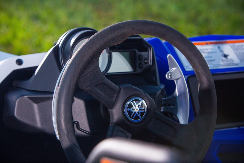 Combine the well engineered aluminum paddle shifters with a soft grip over-mold, tilt adjustable well-crafted steering wheel and link it up to Yamaha's proven Electric Power Steering (EPS) and you have a driving experience that is unmatched! Optimized steering ratios provide precise handling through the best balance of assist and positive feedback from the terrain.