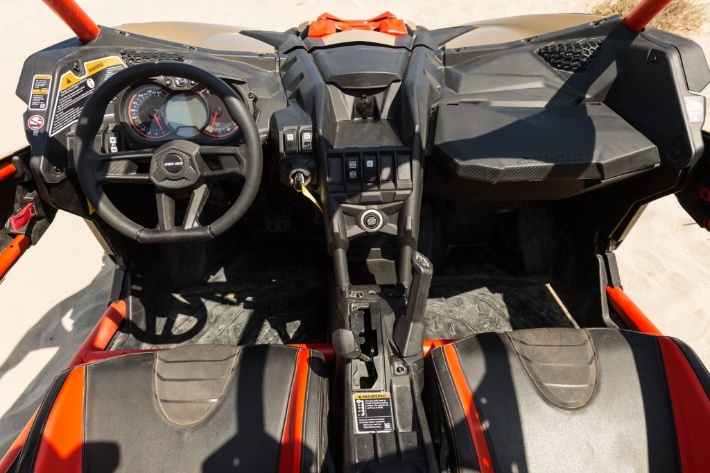 The inside of the Can-Am Maverick X3 looks as good as the outside. You can adjust the seats not only front to back but up and down as well.