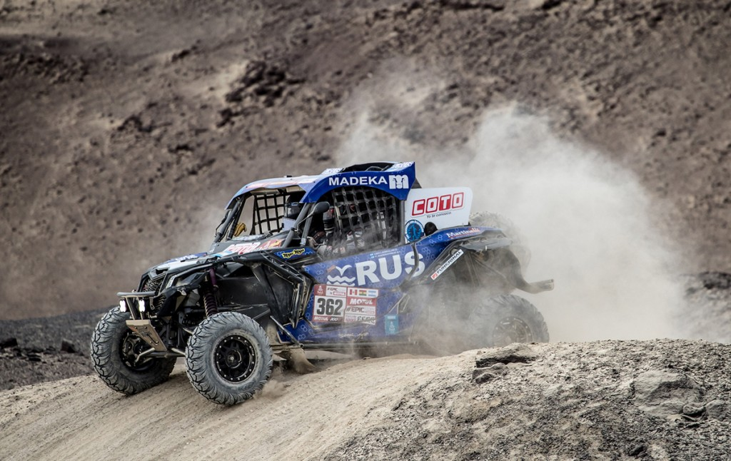The tandem of Leonel Larrauri and Fernando Imperatrice drove their South Racing Can-Am Maverick X3 to a stage 14 victory at the 2018 Dakar Rally.